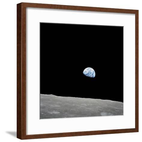 Earth Rising Above the Lunar Horizon-Stocktrek Images-Framed Art Print
