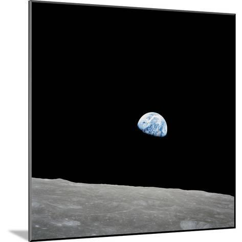 Earth Rising Above the Lunar Horizon-Stocktrek Images-Mounted Photographic Print