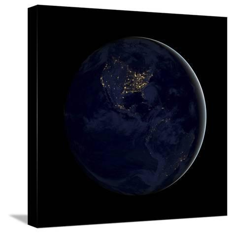 Full Earth at Night Showing City Lights of the Americas-Stocktrek Images-Stretched Canvas Print