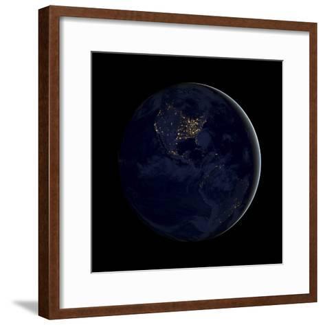 Full Earth at Night Showing City Lights of the Americas-Stocktrek Images-Framed Art Print