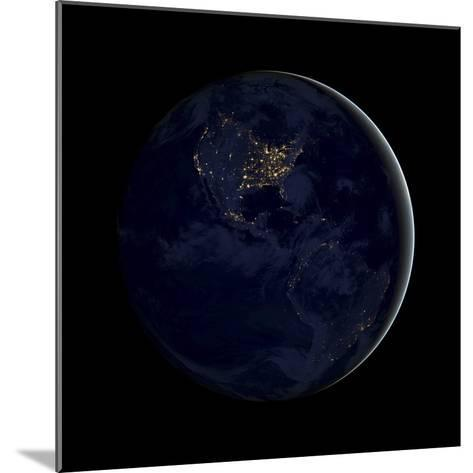 Full Earth at Night Showing City Lights of the Americas-Stocktrek Images-Mounted Photographic Print