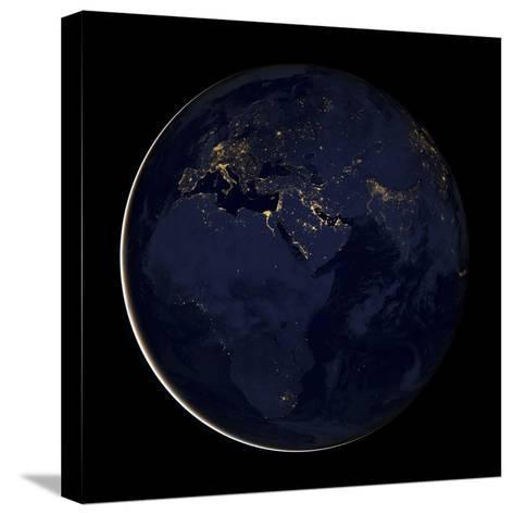 Full Earth Showing City Lights of Africa, Europe, And the Middle East-Stocktrek Images-Stretched Canvas Print
