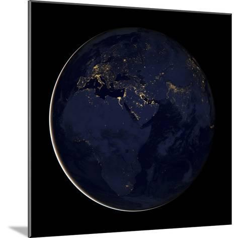 Full Earth Showing City Lights of Africa, Europe, And the Middle East-Stocktrek Images-Mounted Photographic Print