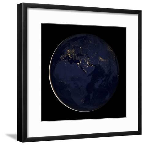 Full Earth Showing City Lights of Africa, Europe, And the Middle East-Stocktrek Images-Framed Art Print