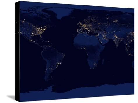 Flat Map of Earth Showing City Lights of the World at Night-Stocktrek Images-Stretched Canvas Print