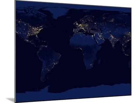 Flat Map of Earth Showing City Lights of the World at Night-Stocktrek Images-Mounted Photographic Print