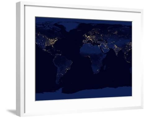 Flat Map of Earth Showing City Lights of the World at Night-Stocktrek Images-Framed Art Print