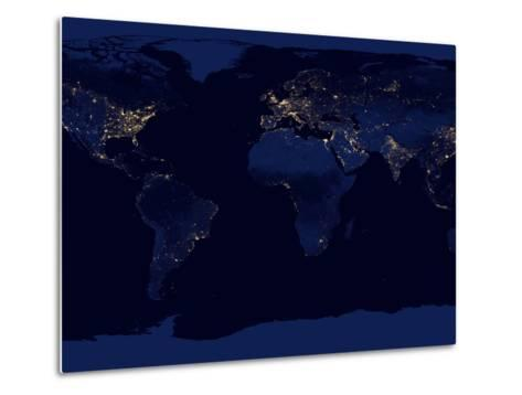 Flat Map of Earth Showing City Lights of the World at Night-Stocktrek Images-Metal Print