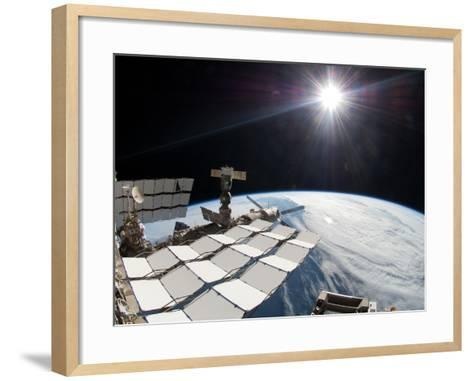 The Bright Sun, a Portion of the International Space Station And Earth's Horizon-Stocktrek Images-Framed Art Print