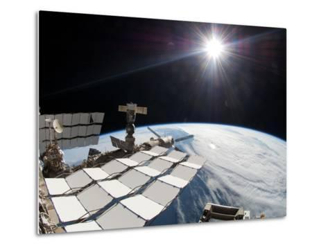 The Bright Sun, a Portion of the International Space Station And Earth's Horizon-Stocktrek Images-Metal Print