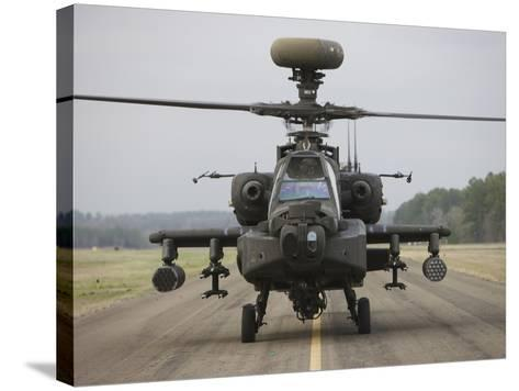 AH-64 Apache Helicopter On the Runway-Stocktrek Images-Stretched Canvas Print