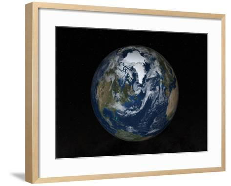 Earth with Clouds And Sea Ice from September 15, 2008-Stocktrek Images-Framed Art Print