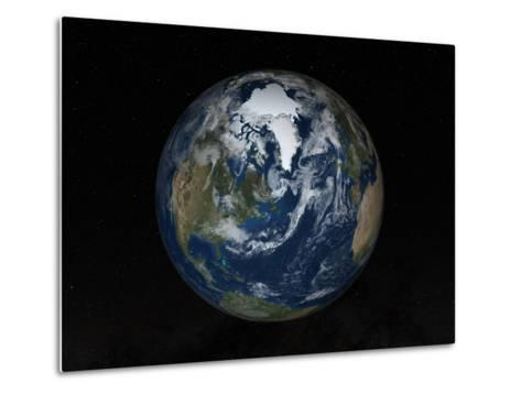Earth with Clouds And Sea Ice from September 15, 2008-Stocktrek Images-Metal Print