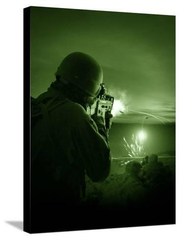 Night Vision View of a Special Operations Forces Soldier Firing His Weapon During Combat-Stocktrek Images-Stretched Canvas Print