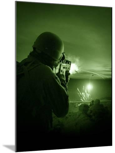 Night Vision View of a Special Operations Forces Soldier Firing His Weapon During Combat-Stocktrek Images-Mounted Photographic Print