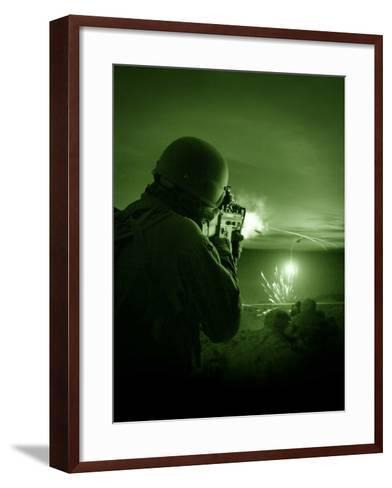 Night Vision View of a Special Operations Forces Soldier Firing His Weapon During Combat-Stocktrek Images-Framed Art Print