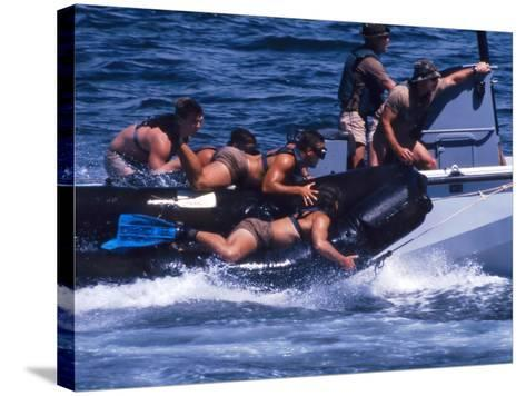 Navy SEALs Practice High Speed Boat Cast And Recovery-Stocktrek Images-Stretched Canvas Print
