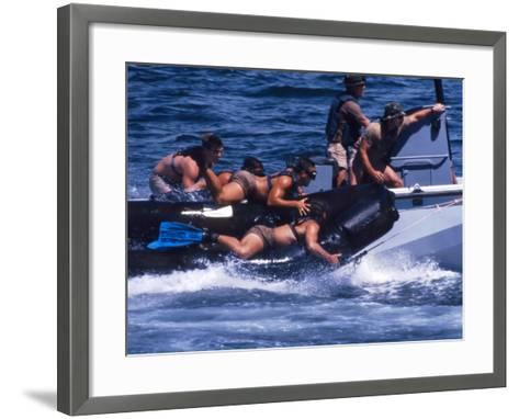 Navy SEALs Practice High Speed Boat Cast And Recovery-Stocktrek Images-Framed Art Print
