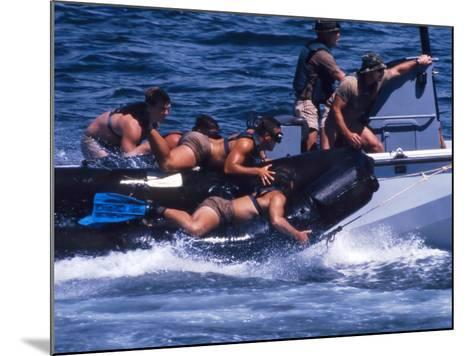 Navy SEALs Practice High Speed Boat Cast And Recovery-Stocktrek Images-Mounted Photographic Print
