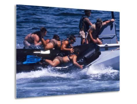 Navy SEALs Practice High Speed Boat Cast And Recovery-Stocktrek Images-Metal Print