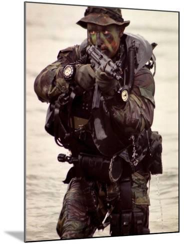 A Navy SEAL Exits the Water Armed And Alert For Action-Stocktrek Images-Mounted Photographic Print