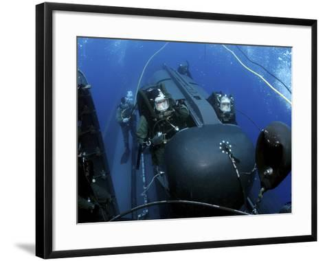 SEAL Delivery Vehicle Team Members Launching a SEAL Delivery Vehicle-Stocktrek Images-Framed Art Print