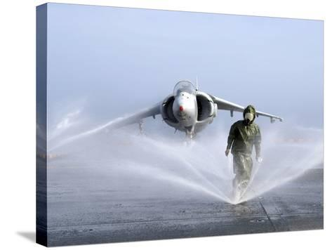 Damage Controlman Fireman Checks Sprinklers On the Counter Measure Wash Down System of USS Iwo Jima-Stocktrek Images-Stretched Canvas Print