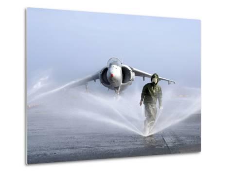 Damage Controlman Fireman Checks Sprinklers On the Counter Measure Wash Down System of USS Iwo Jima-Stocktrek Images-Metal Print