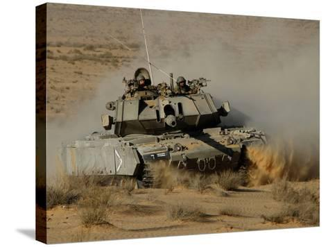 An Israel Defense Force Magach 7 Main Battle Tank in the Negev Desert-Stocktrek Images-Stretched Canvas Print