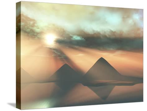 Sunrays Shine Down On Three Pyramids Along the Nile River On the Giza Plateau-Stocktrek Images-Stretched Canvas Print