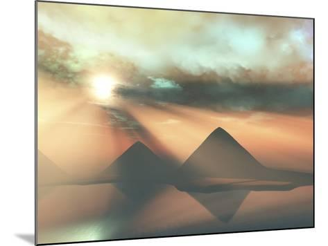 Sunrays Shine Down On Three Pyramids Along the Nile River On the Giza Plateau-Stocktrek Images-Mounted Photographic Print