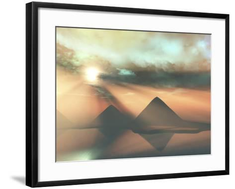 Sunrays Shine Down On Three Pyramids Along the Nile River On the Giza Plateau-Stocktrek Images-Framed Art Print