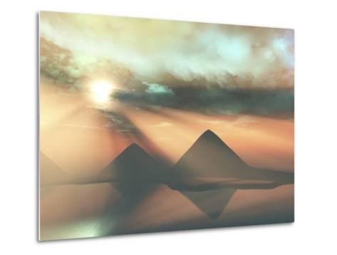 Sunrays Shine Down On Three Pyramids Along the Nile River On the Giza Plateau-Stocktrek Images-Metal Print