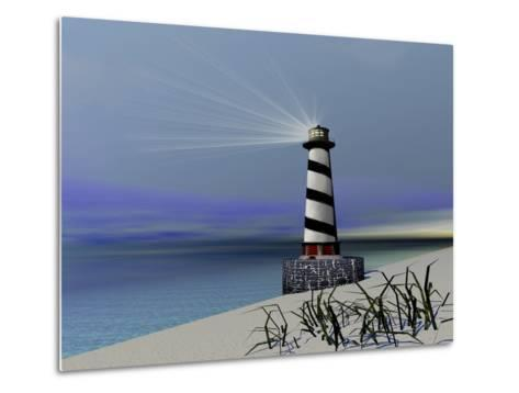 A Lighthouse Sends Out a Light To Warn Vessels-Stocktrek Images-Metal Print