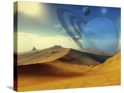 A Beautiful Desert Planet And Its Moons-Stocktrek Images-Stretched Canvas Print