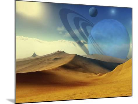 A Beautiful Desert Planet And Its Moons-Stocktrek Images-Mounted Photographic Print