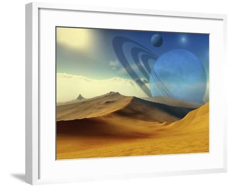A Beautiful Desert Planet And Its Moons-Stocktrek Images-Framed Art Print