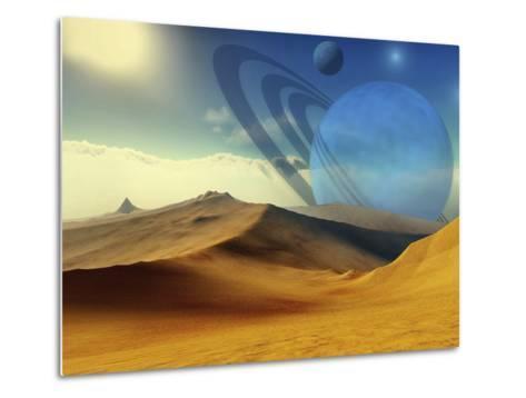 A Beautiful Desert Planet And Its Moons-Stocktrek Images-Metal Print