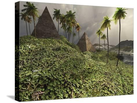 Two Pyramids Sit Majestically Among the Surrounding Jungle-Stocktrek Images-Stretched Canvas Print