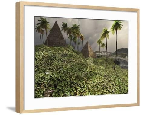 Two Pyramids Sit Majestically Among the Surrounding Jungle-Stocktrek Images-Framed Art Print