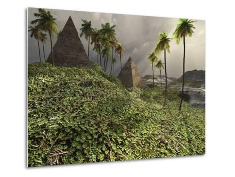 Two Pyramids Sit Majestically Among the Surrounding Jungle-Stocktrek Images-Metal Print