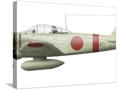 Illustration of a Mitsubishi A6M2 Zero Fighter Plane-Stocktrek Images-Stretched Canvas Print