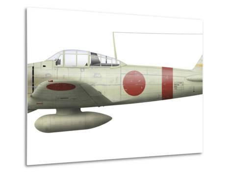 Illustration of a Mitsubishi A6M2 Zero Fighter Plane-Stocktrek Images-Metal Print