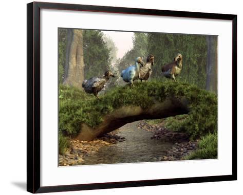A Group of Dodo Birds Crossing a Natural Bridge Over a Stream-Stocktrek Images-Framed Art Print