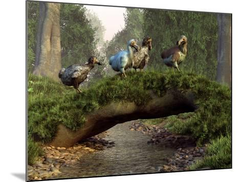 A Group of Dodo Birds Crossing a Natural Bridge Over a Stream-Stocktrek Images-Mounted Photographic Print