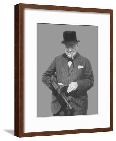 Digitally Restored Vector Photo of Sir Winston Churchill with a Tommy Gun-Stocktrek Images-Framed Art Print