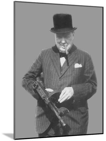 Digitally Restored Vector Photo of Sir Winston Churchill with a Tommy Gun-Stocktrek Images-Mounted Photographic Print
