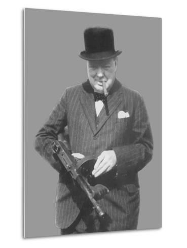 Digitally Restored Vector Photo of Sir Winston Churchill with a Tommy Gun-Stocktrek Images-Metal Print