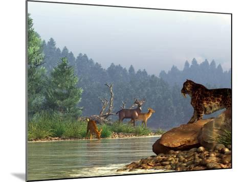 A Saber-toothed Cat Looks Across a River at a Family of Deer-Stocktrek Images-Mounted Photographic Print
