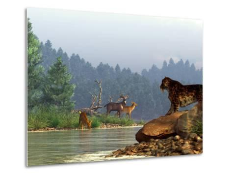 A Saber-toothed Cat Looks Across a River at a Family of Deer-Stocktrek Images-Metal Print